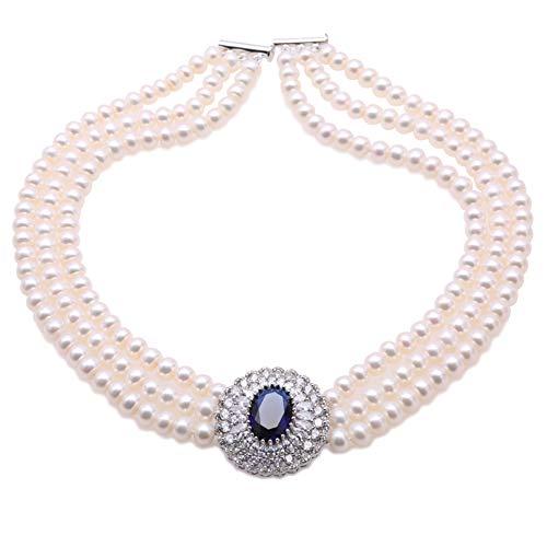 JYX Perlen-Halskette, 3-reihig, echte 7–7,5 mm, 3 Stränge, weiße Süßwasser-Zuchtperlen, Opern-Halskette mit blauem Edelstein-Anhänger für Frauen, Länge 43-45,7 cm