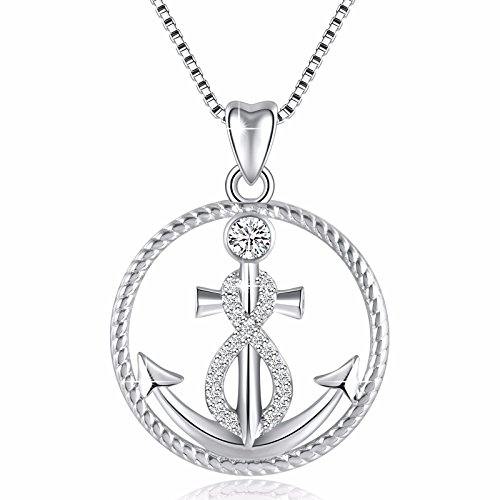 925 Sterling Silver Anchor and Infinity Nautical Symbol of Hope Vintage Pendant Necklace, Box Chain 18'