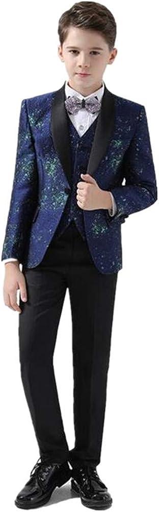 Boy Suits Tuxedo Slim Fit Shawl Lapel 5 Pieces (Jacket+Pants+Shirt+Vest+Bowtie) Party Performance Show