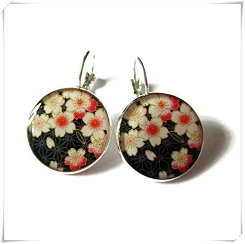 Pendientes de flor de cerezo, pendientes colgantes de flores rosas, Sakura Jewelry, pendientes de flores japonesas