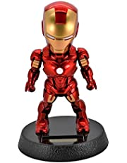 SKEIDO 5-Inch Iron Man Solar Powered Bobble-Head Action Relaxation Toy For Car Home Office -mz2949