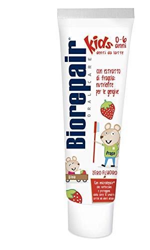 Biorepair, Dentifricio Kids 0-6 anni, Dentifricio per Bambini Senza Fluoro Gusto Frutta, Anticarie, per Gengive Sane, 3 Pezzi
