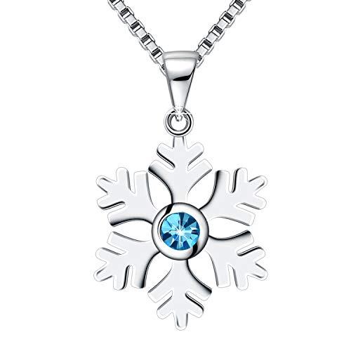 Amilril - Collares de cristal con forma de copo de nieve, plata de ley 925, regalo de Navidad