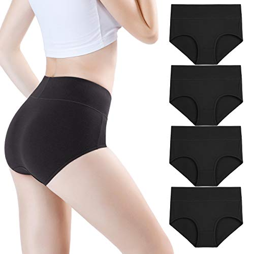 wirarpa Women's High Waist Bamboo Modal Knickers Ladies Ultra Soft Pants Underwear Full Briefs Black 4 Pack Size 16-18