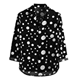 SoonerQuicker Camisas de Hombre Blusa Superior con Estampado de Lunares de Manga Larga Informal Suelta para hombreT Shirt tee(Negro XXXL)