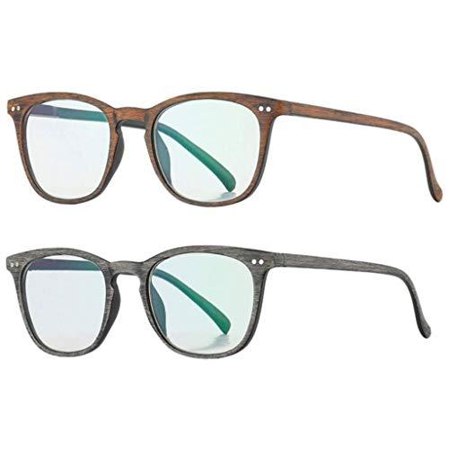 JXM Lesebrille Für Männer Frauen Leser Brillen Holzoptik Printed Rahmen Klassische Rechteckig Comfort Federscharniere Readers Brillen Für Indoor Outdoor (2-Pack),+150