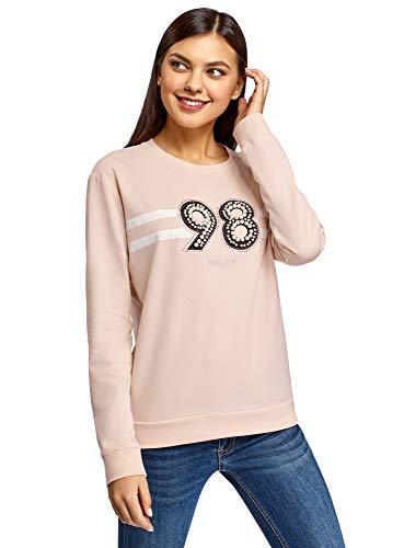 oodji Ultra Damen Baumwoll-Sweatshirt mit Strasssteinen und Perlenverzierung, Rosa, DE 44 / EU 46 / XXL