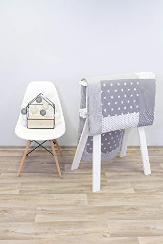 ULLENBOOM patchwork sprei kinderbed l katoenen deken voor baby's en peuters l zachte deken l 140 cm x 200 cm l grijze sterretjes