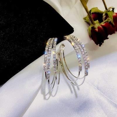 ENDFF Pendientes de cristal para mujer, de oro rosa, con personalidad de gran círculo de metal, para bodas, fiestas, de moda (color de metal: L26 color plateado)