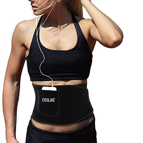 obliq Black Men's Women's Waist Stomach Shaper Sweat Slim Belt with Mobile Holder Weight Loss Back Pain Gym Running (Medium Upto 36 Inches)