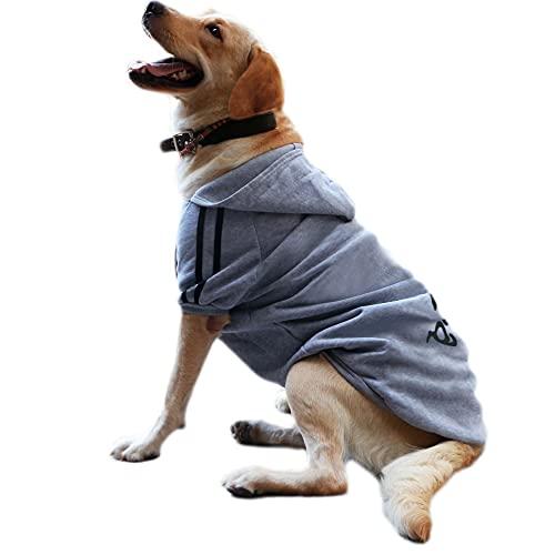 Eastlion Ropa Perro Grande,Cálido Sudadera con Capucha para Perros Algodón Suéter Chaqueta Abrigo Costume Pullover para Mascota Perro Gato (Gris,3XL)
