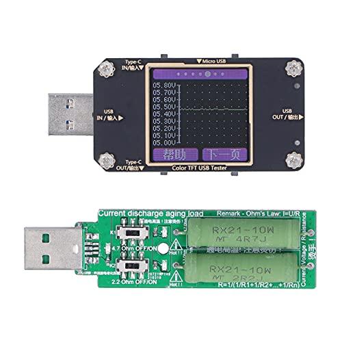 Monitor de voltaje de corriente, USB Monitor de voltaje de corriente Alimentación Detector de capacidad de la batería Medidor Pantalla LCD a color Multímetro