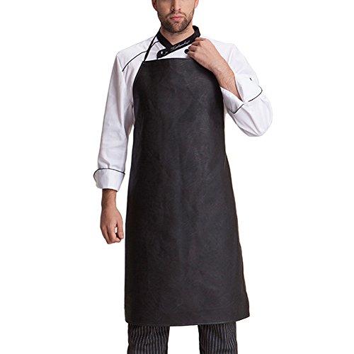 iKulilky Herren wasserdichte Leder Arbeit Schürzen Grillschürze Kochschürze Küchenchef Schürze für Frauen, schwarz Heavy Duty BBQ Schürze