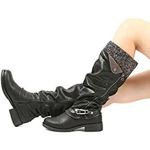 gracosy Knee High Boots Women's Leather Ankle Riding Boots Ladies Low Flat Heel Closed Toe Fur Lined Winter Warm Snow Boots Comfortable Casual Footwear with Zip Buckle New Long Shoes Size Black 6 UK:Firmwarerom