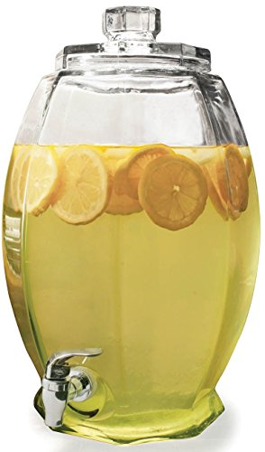 Circleware 66903/R Cranston Beverage Dispenser with Glass Lid, Sun Tea Jar with Spigot Entertainment Kitchen Glassware Water Pitcher for Juice, Wine, Kombucha and Cold Drinks, 3 Gallon, Clear