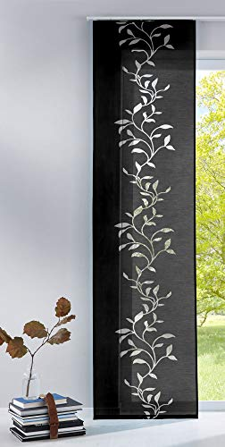 Gardinenbox Moderner Flächenvorhang Raumtrenner Schiebegardine Tendril aus hochwertigem Ausbrenner-Stoff mit Paneelwagen, 245x60 (HxB), Schwarz, 85611