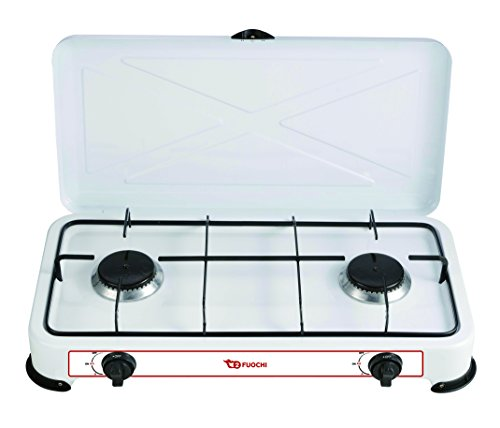 XONE Fornello a Gas GPL 2 fuochi, Struttura in Acciaio smaltato di Colore Bianco, Consumo 2,2 kW (160 g/h) | Fornello Campeggio Dimensioni: 58 x 33 x 9 cm, Peso: 3 kg