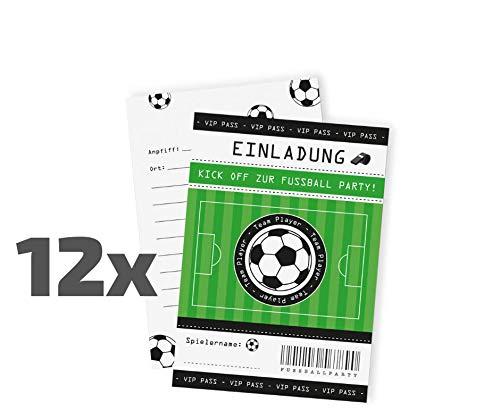 12 Fußball Einladungskarten zum Kindergeburtstag / Soccer / Football / Fussi / Geburtstagseinladungen / Einladungen / Geburtstag / Kinder / Jungen / Mädchen / Karten / Sets