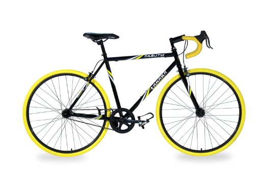 Takara Kabuto Single Speed Road Bike, 700c, Black/Yellow, Medium/54cm Frame