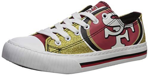 FOCO NFL San Francisco 49Ers Womens Ladies Glitter Low Top Canvas Sneaker Shoesladies Glitter Low Top Canvas Sneaker Shoes, Team Color, 6/Small