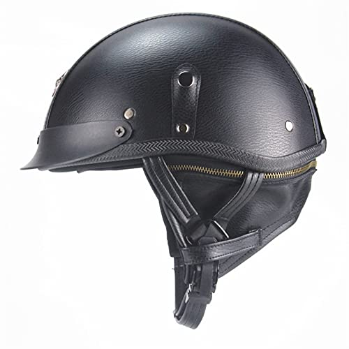 QIANGU Casco de motocicleta con visera de piel transpirable y ligero para motocross, de cara abierta, para motorista, crucero, scooter, turismo, casco Jet Pilot