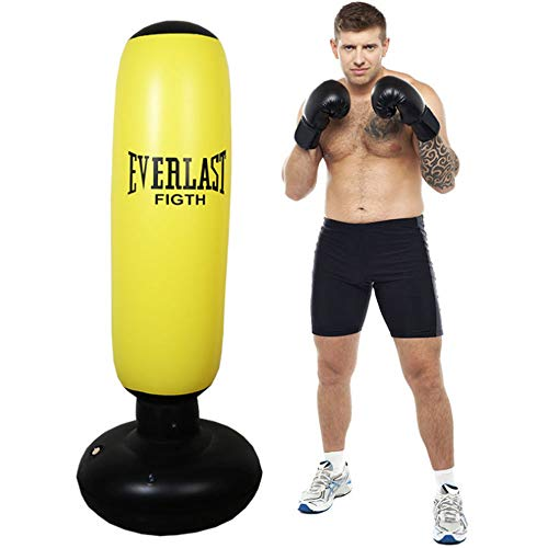 Schwerkrafttrainer Freistehende Boxing Target Boxsack - Heavy Duty Boxing Bags Ideal für Sparring/Kick Boxing/Martial ArtsTraining (Farbe : Gelb)