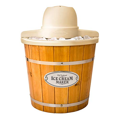 Nostalgia WICM4L Electric Ice Cream Maker Makes 4-Quarts, Frozen Yogurt, Gelato in Minutes, Made from Real, Light Wood