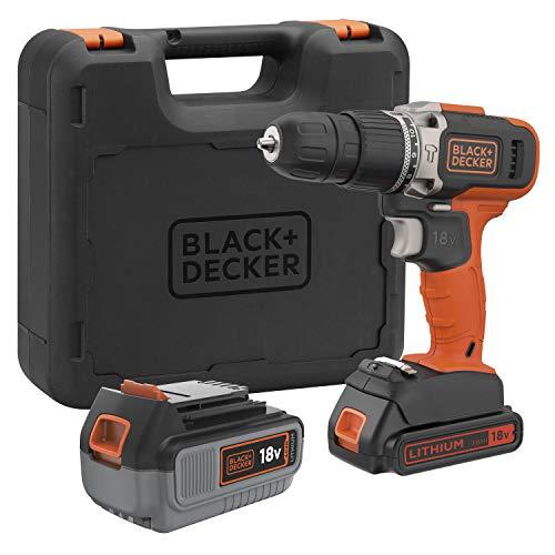 BLACK+DECKER BCD003MEM2K-QW - Taladro percutor 18V, 21.000 ipm, con 2 baterías de litio 4Ah y 2Ah