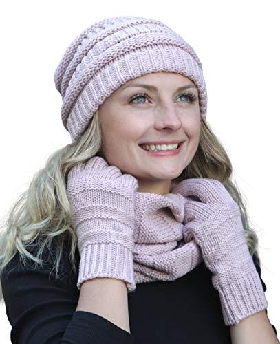 Hilltop Winter Set aus Loop-Schal, Strickmütze und Handschuhen/Beanie mit Öffnung für den Zopf, Winter Set:Altrosa