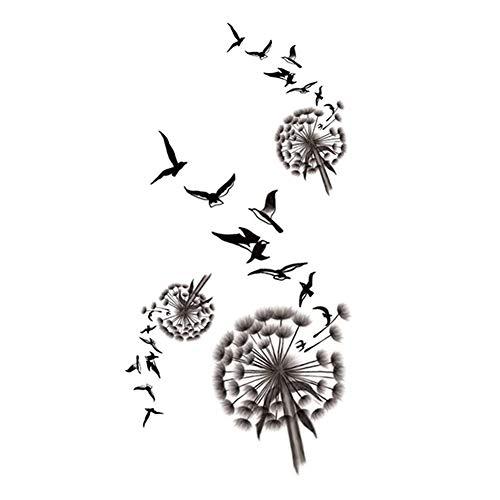 2 feuilles d'autocollants de tatouage temporaire pissenlit pour Cosplay Fête costumée couvrir la cicatrice