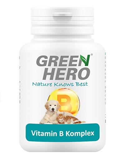 Green Hero Vitamin B-Komplex für Hund und Katze Vitamin B1, B2, B6, B12, K3, Calcium-D-Pantothenat und Folsäure für Energiestoffwechsels und zur Unterstützung der Nervensystem-Funktion 100 Tabletten