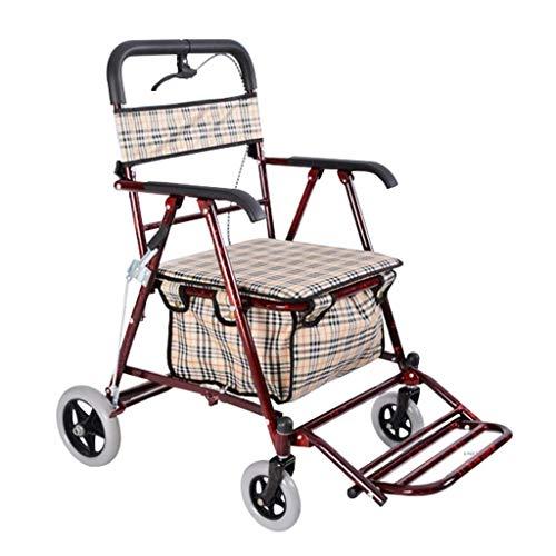 LQBDJPYS Faltbarer Einkaufswagen für ältere Menschen, Rollator mit vier Rädern, kann schieben oder sitzen, alter Mann, Trolley, Gepäcktaschen (Farbe: Weinrot)