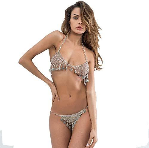 Mesdames Corps chaîne Sexy boîte de Nuit Bikini Flash Diamant pièce de Monnaie Poitrine chaîne Taille chaîne Ensemble Perfect