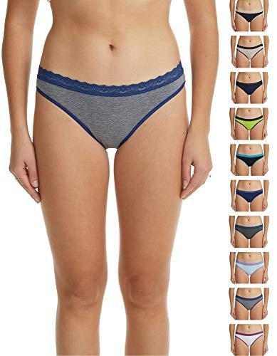 Esteez Women's Lace Hi-Cut Bikini Panties - Pack of 10 Assorted Colors - Soft Cotton Underwear - Large