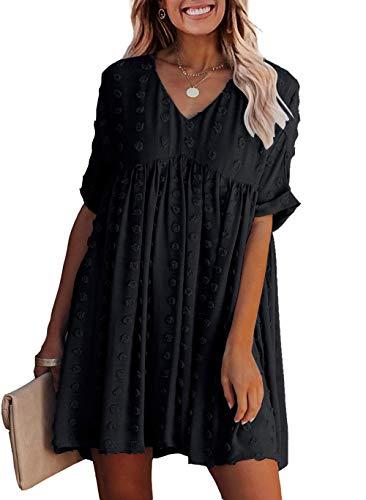 KIRUNDO 2021 Summer Women's Mini Dress Short Sleeves Sexy V Neck...