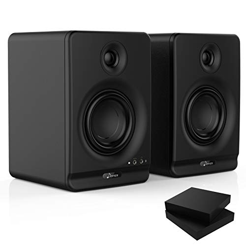 Donner Dyna 4 High Definition Bluetooth 5.0 Active Studio Monitor, mit professionellem CSR Bluetooth 5.0, 2er Pack inklusive Studiomonitor Isolationspads (Dyna4 Schwarz, Paar)