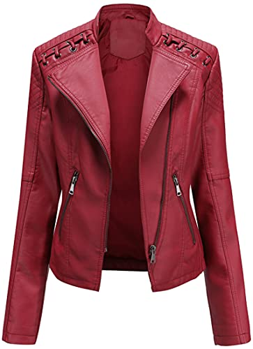 FLYCHEN Mujer Chaqueta Cuero Sintético Biker Chaqueta Saco Blazer Leather Jacket Chaqueta para Mujer Chaqueta con cremallera, Rojo, L