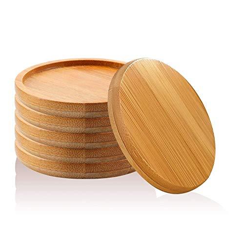 6 Stücke Bambus Blumentopf Tablett, Rund Holz Untertasse für Mini Pflanze Sukkulenten Töpfe, Kaktus Untersetzer aus Bambus (9cm)