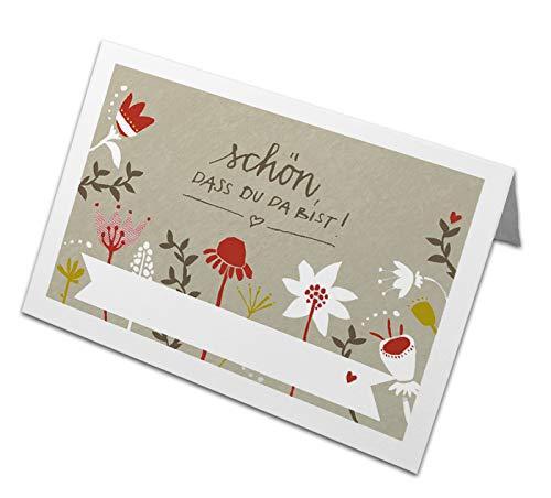 50 Tischkarten aus Recyclingpapier, nachhaltige Namenskarten, Platzkarten zum beschriften für Hochzeit, Taufe, Konfirmation, Kommunion & Familienfeier, Schön, dass du da bist - CREME mit bunten Blumen
