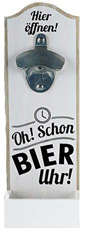 GILDE 1 x Wand-Flaschenöffner MDF Metallöffner, Kronkorkensammler weiß/schwarz Höhe 30 cm, Wanddeko (Oh! Schon Bier Uhr!)