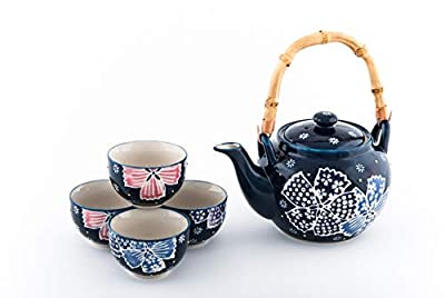 Hinomaru Collection Japanese Style Floral Design Tea Set Ceramic Teapot with Rattan Handle and 4 Tea Cups (Purple Floral)