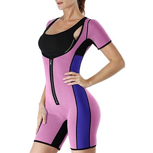MFFACAI Trajes de Sudor de Sauna para Mujer, Entrenador de Cintura para Adelgazar, Chaleco de Neopreno para Pérdida de Peso, Mono, Entrenamiento, Ciclismo, Jersey (Color : Pink, Size : XXL)