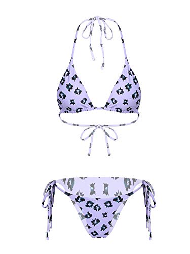 CHICTRY Womens Printed Two Pieces Swimwear Halterneck Bikini Set Triangle Swimsuits Bathing Suits Purple L