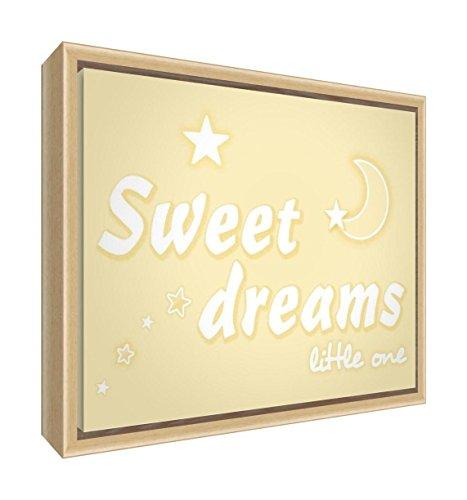 Feel Good Art Toile de crèche imprimée et encadrée avec cadre en bois naturel massif (34 x 24 x 3 cm, petite, crème, Sweet Dreams)