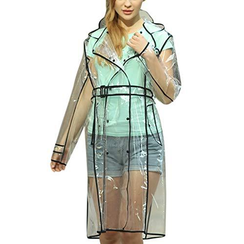 FRAUIT Regenjacke Transparent Mode Damen Regenmantel Raincoat wasserdichte Poncho Regenbekleidung mit Kapuze Regenjacke für Damen Outdoor-Gürtel Wasserdichter, winddichter Mantel