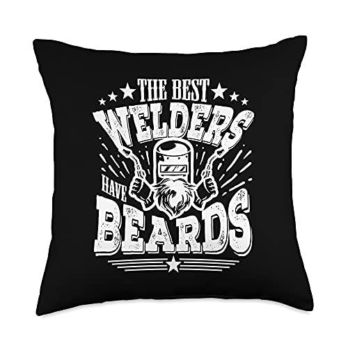 Metalworker And Welders Gift For Men Funny Welding The Best Welders Have Beards Throw Pillow, 18x18, Multicolor