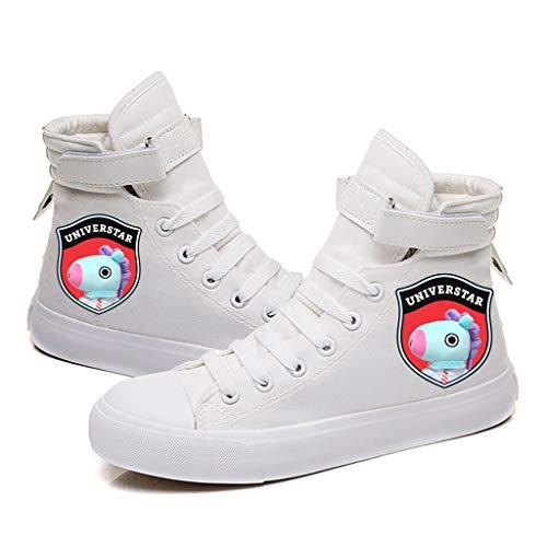 RJBTS shoes HJJ Zapatos BTS Pareja Zapatos de Lona KPOP BTS Impreso Zapatillas de Deporte Casuales/Hip-Hop Estilo con Cordones/tamaño Fresco Escuela de Deportes Béisbol Botas Estrellas BTS