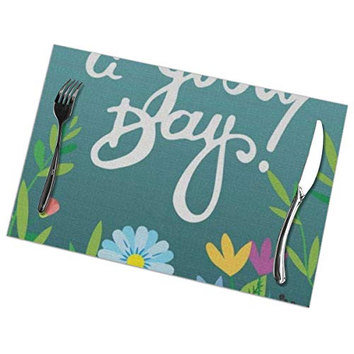 ghkfgkfgk Hello Welcome Spring Summer Good Day Floral Flowers Table Placemats For Dining Table,Washable Table Mats Heat-Resistant(12X18 Inch) Set of 6