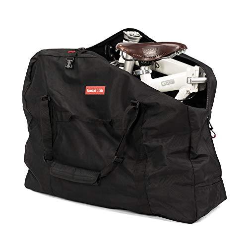 lamaki:lab Bolsa de Transporte Bicicleta Plegable | para todas las Marcas Brompton Dahon Giant Birdy Oyama | para Bicicletas Plegables de 14-20 pulgadas | Negro