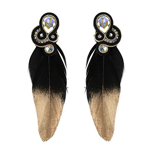 Charm Pendientes grandes hechos a mano Joyería de estilo étnico Señoras Accesorios decorativos de cristal Pendientes colgantes 04
